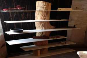This Raw Wooden Shelf by Antoniazzi & Piovesana Brings Nature Right Inside