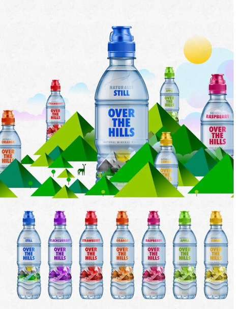 Mountainous Water Labels - These Water Labels are Made with Mountain-Mimicking Geometric Shapes