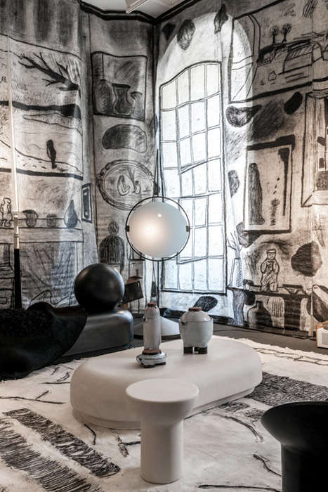 Artistic Charcoal Murals - This Creative Charcoal-Covered Room was Designed by Studio Toogood