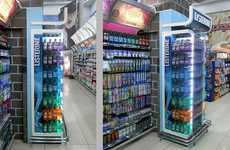 Color-Coded Mouthwash Merchandising - This Listerine Retail Display Highlights a Vast Product Range