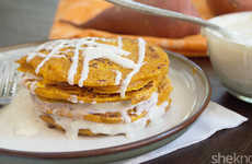 Sweet Potato Pancakes - These Gluten-Free Breakfast Cakes are Topped with a Vanilla Coconut Drizzle