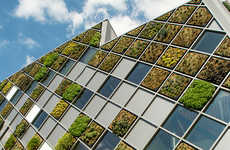 Tiled Grass Buildings - Belgium's City Hall Features Panels Made with Greenwall Squares