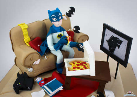 Comical Superhero Cakes - This Celebratory Batman Birthday Cake Showcases the Hero Hanging Out