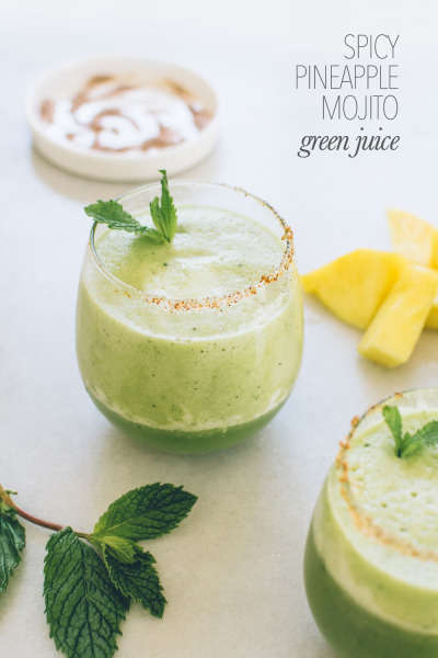 Mojito Green Juices - Kale & Caramel's Pineapple Green Juice Recipe is a Non-Alcoholic Version