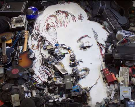 Metal-Made Portraits - This Artist Creates Iconic Portraits Using Upcycled Electronic Scraps