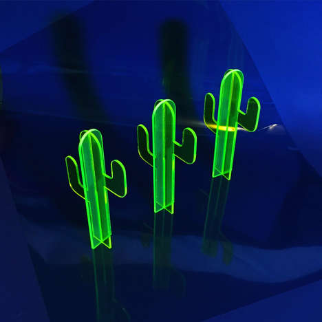 Fluorescent Cactus Lamps - Nobel Truong's Vibrant Neon Cactus Light Gives Off a Soft Glow