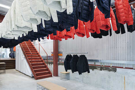 Ceiling-Suspended Clothing Displays - The Descente Blanc Shop's Racks Lower Down from the Ceiling