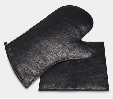 Animal Skin Oven Mitts - The Leather Oven Mitt and Pot Holder Set Offers Cooks a Luxurious Touch
