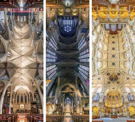 Panoramic Church Photographs - These Photographs of Churches Were Shot in a Vertical Panoramic View