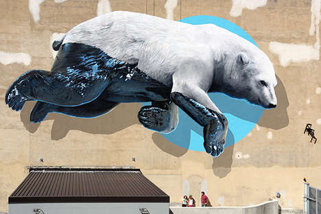 Polar Bear Murals - This Massive Polar Bear Provides Street Art on a Turin Theater's Facade