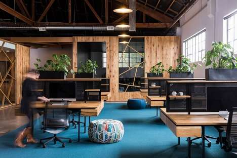 Wood-Clad Office Spaces - The 'BeFunky' Office is Part of a Converted Warehouse