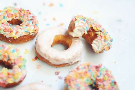 Cereal-Topped Donuts - The Recipe for Fruity Pebbles Cereal Donuts Makes a Nostalgic Homemade Treat