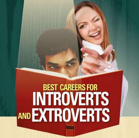 Personality-Comparing Career Charts - This Infographic Lists Careers for Introverts an Extroverts