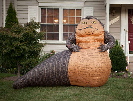 Galactic Inflatable Slugs - This Gigantic Jabba the Hutt Lawn Ornament is Ideal for Star Wars Fans