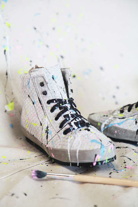DIY Splattered Sneakers - This Stylish Shoes are Given an Art Deco Aesthetic with Colorful Paint