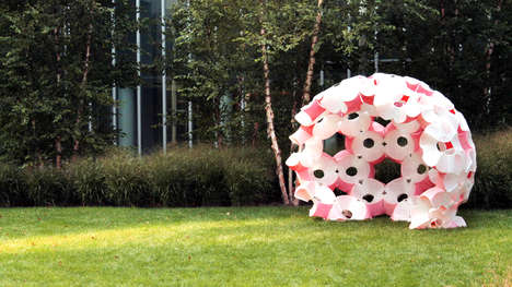 Fake Floral Pavilions - This Large Dome-Like Pavilion is Designed Using Giant Plastic Flowers