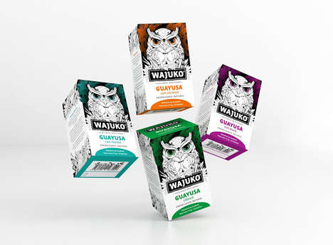 Amazonian Owl Tea Packaging - This Unique Guayusa Tea Features an Eye-Catching Owl Illustration
