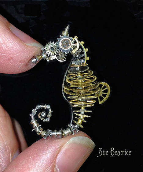 Recycled Gear Animals - These Intricate Wildlife Sculptures are Made from Old Watch Parts