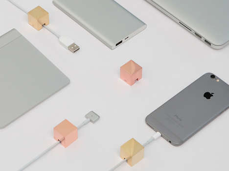 Cubed Smartphone Cable Holders - The Cubic Cable Holders is Designed to Help Organize Messy Wires