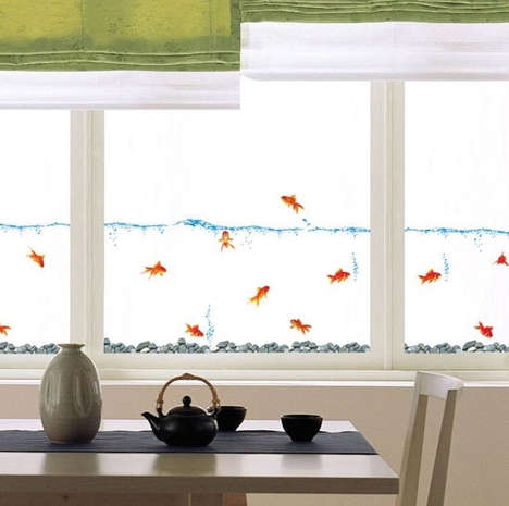 Faux Fishbowl Decals - This Gold Fish Wall Decal Adds an Aquatic Touch to Any Space