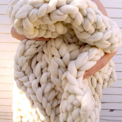 Oversized Knit Decor - This Giant Knit Wool Blanket is Perfect for Chilly Autumn Evenings