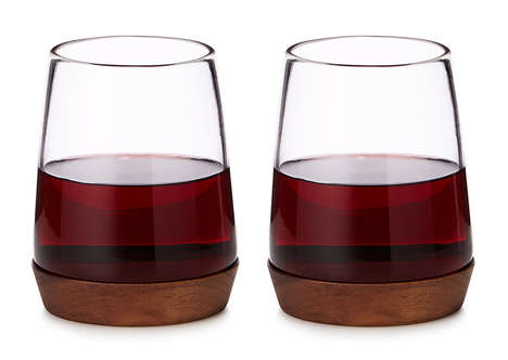 Naturalistic Wine Glasses - These Wooden Base Wine Glasses Add a Touch of Texture