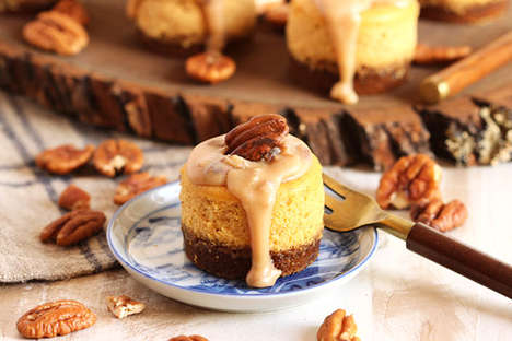Bourbon Pumpkin Cheesecakes - These Miniature Fall Desserts are Perfect for Single-Servings