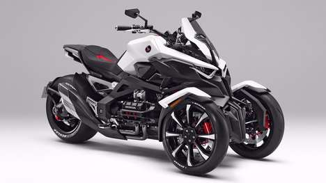 Tilting Three-Wheeler Vehicles - The Honda Neowing Concept Features Electric Motors
