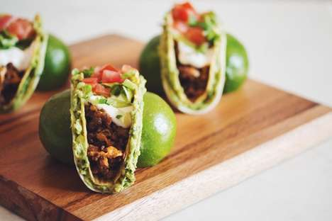 Beefless Guacamole Tacos - These Vegan Tostadas are Filled with Veggies and Two Shell Textures