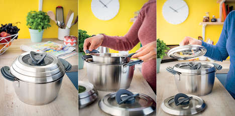 Streamlined Stackable Cookware - The Tefal Ovation Collection Ensures a Space-Saving Design