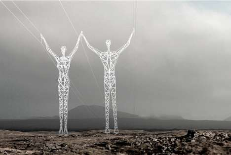 Electricity-Carrying Sculptures - These Giant Human Figures are Actually Icelandic Power Pylons