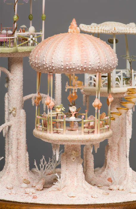 Delicate Seashell Dollhouses - This Miniature Dollhouse is Completely Made of Real Seashells & Sand