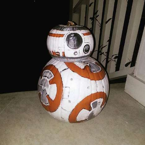 Painted Droid Pumpkins - This Star Wars Pumpkin is a Perfect Painted Replica of the BB-8 Robot