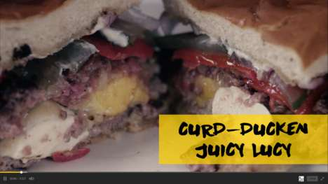 Decadent Duck Burgers - The Curd-Ducken Juicy Lucy Has Quadruple Cheese and Duck Skin