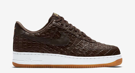 Faux-Croc Sneakers - Nike Released a Brown Faux-Croc Exterior on Its Iconic Air Forces