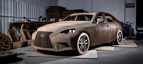 Drivable Cardboard Cars - Lexus Created a Functional Sedan with 1,700 Pieces of Corrugated Cardboard