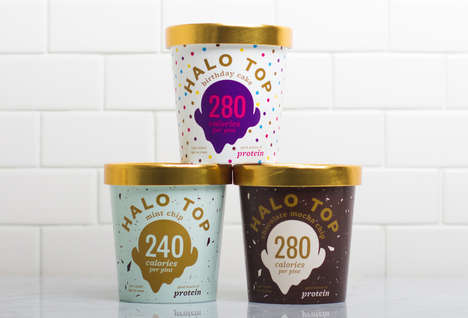 Golden Ice Cream Tubs - The 'Halo Top' Healthy Desserts Use Gilded Lids to Resemble Angel Halos