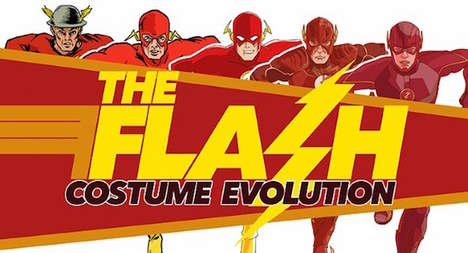 Evolutionary Superhero Looks - This Infographic Depicts the Evolution of the Flash Costume