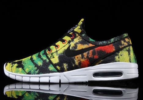 Groovy Tie-Dye Sneakers - These Comfortable Skate Sneakers Feature a Colourfully Laid Back Print