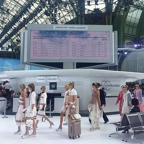 Airport-Themed Fashion Shows - The Chanel Spring 2016 Show Featured Ticket Booths & Baggage Handlers