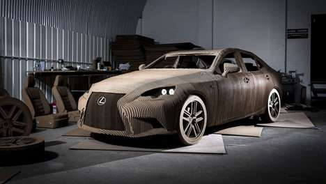 Cardboard Origami Cars - This Lexus IS300H Sedan is Crafted from 1700 Pieces of Cardboard
