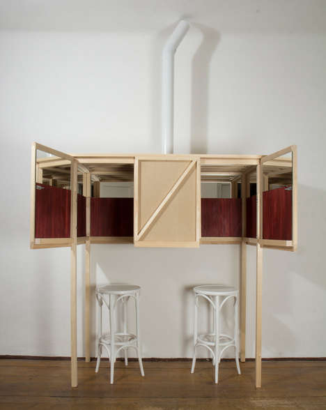 Speakeasy-Inspired Cabinets - This Private Bar is a Folding Cabinet with Room for 2 to Share a Drink