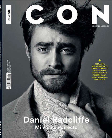 Matured Child Star Editorials - Daniel Radcliffe Shows Off a Bearded Look on Icon's Latest Cover