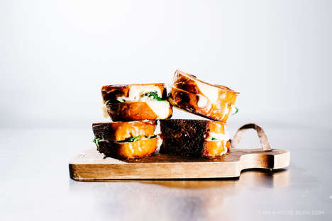 Veggie Pretzel Grilled Cheeses - This Mozzarella Spinach Sandwich Features Gourmet Pretzel Bread