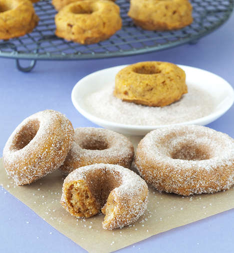 Homemade Pumpkin Donuts - These Pumpkin Cinnamon Sugar Baked Donuts Feature Festive Fall Flavors