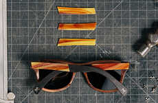 These Wooden Sunglasses Feature Decorative Stained Glass Inlays