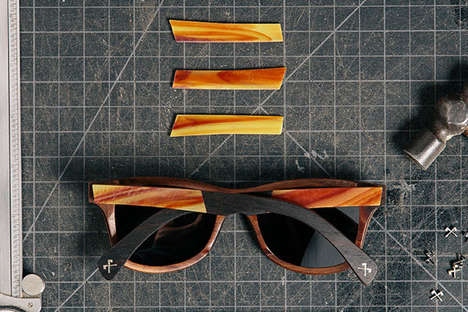 Stained Glass Sunglasses - These Wooden Sunglasses Feature Decorative Stained Glass Inlays