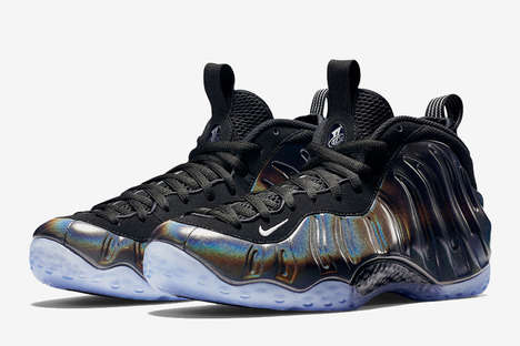 Holographic Basketball Sneakers - This New Nike Foamposite Shoe Release Features a Shimmering Upper