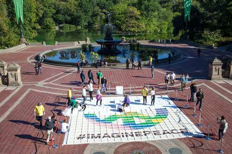 Record-Breaking Cupcake Art - This Cupcake Mosaic in Central Park Honors John Lennon's Birthday