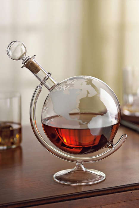 Globe-Shaped Decanters - This Stylish Liquor Decanter by Bourbon and Boots is Decorated Like a Globe